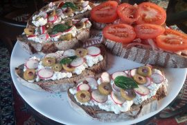 Cheese Bruschetta with radishes and olives