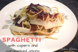 spaghetti with capers and caramelized onions
