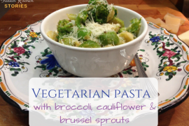 vegetarian pasta with broccoli, cauliflower and brussel sprouts