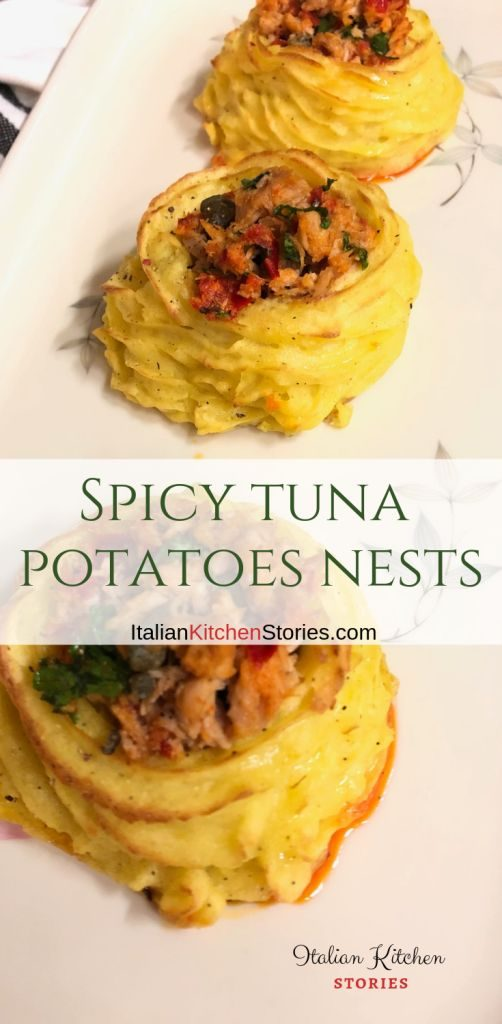 Spicy tuna potatoes nests