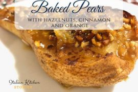 Baked pears with hazelnuts, cinnamon and orange